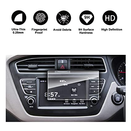 LFOTPP 2017-2018 Hyundai Elite i20 Avn System Navigation infotainment  Tempered Glass Screen Protector Center Touch Protective Film High Clarity