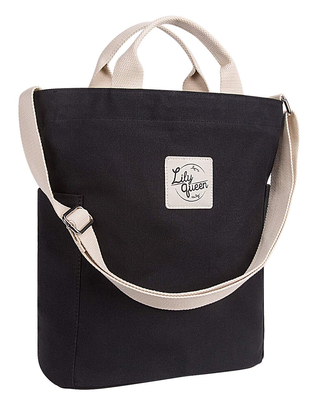 Lily Queen Women Crossbody Canvas Tote Casual Shoulder Purse Bag Durable (Black) by lily queen