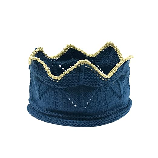 Amazon.com  Allydrew Cute Baby Birthday Crochet Knit Crown Beanie ... 1f8a84516b6