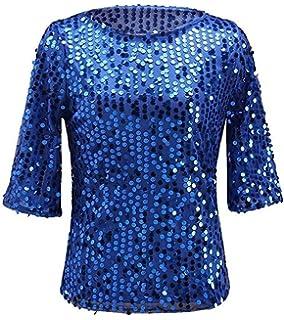 16608e512bb5d0 Easyhon Women Sequin Sparkle Glitter Tank Coctail Party Tops Shining T-Shirt  Blouses