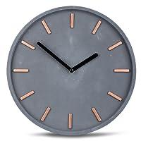 Hochwertige Beton-Uhr Wanduhr Grau Kupfer 30cm Rund Moderne Wanddeko Designer Uhr