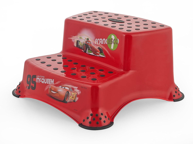 Disney - taburete con 2 pasos, aprendiendo a usar el baño, 21 cm, la razón: Coches, Color rojo OKT Kids 10032401085