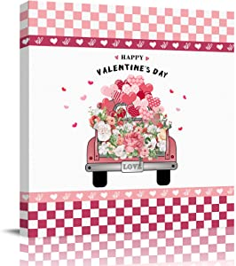 "Canvas Prints Wall Art Paintings with Framed 8""x 8"" Valentine's Day Truck Carrying Flowers and Love Prints Wall Art for Home Living Room Decor,Ready to Hang"