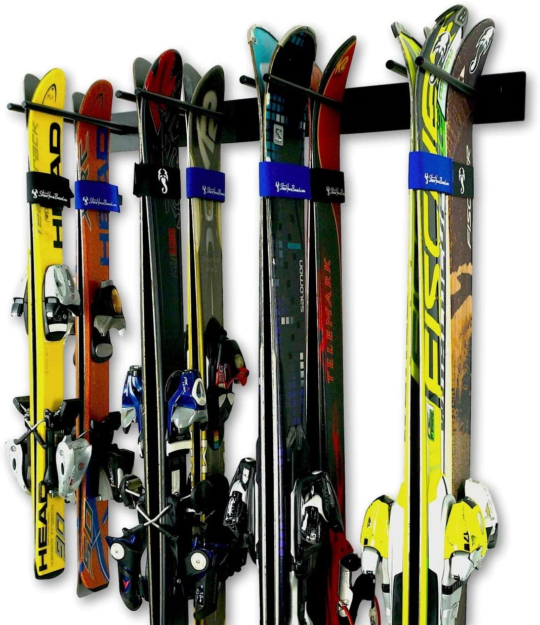 StoreYourBoard Ski Wall Storage Rack, Holds 8 Pairs, Steel Home and Garage Skis Mount