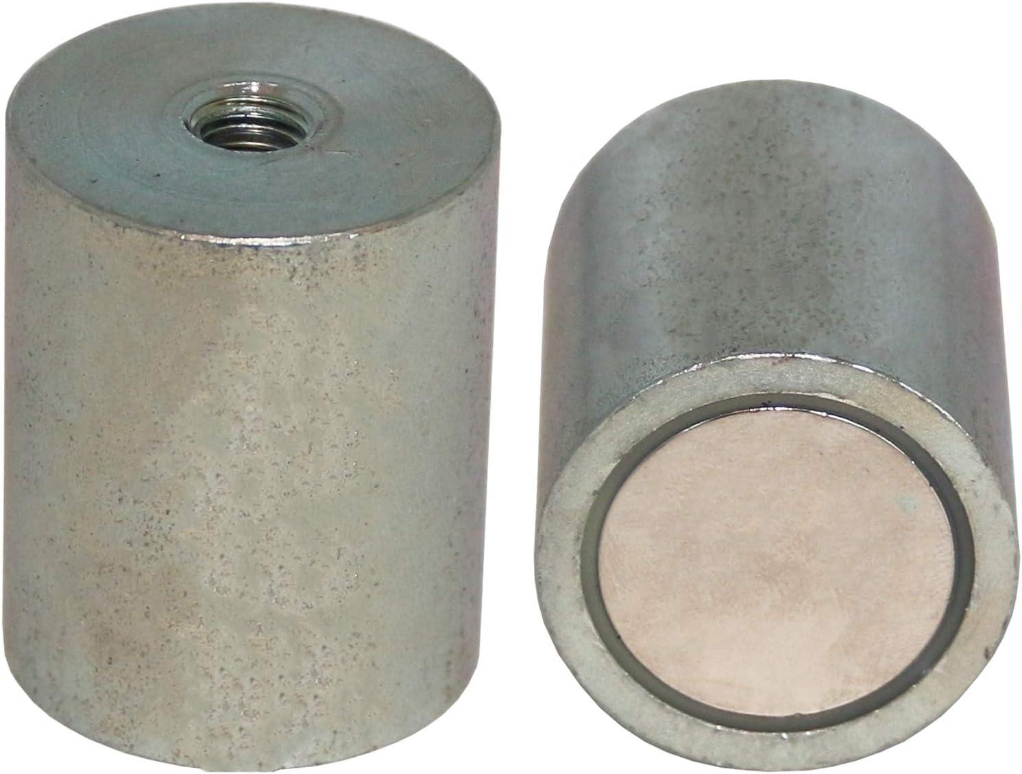 2 x Neodym Magnet Topfmagnet Gummiert Rund D 22 mm Innengewinde M4 Gewindebuchse
