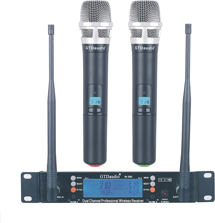 GTD Audio 2x100 Adjustable Frequency Channels UHF Wireless Microphone DJ Karaoke Mic System Long Range 400Ft, Battery 12 Hours (2 Handheld Mics)