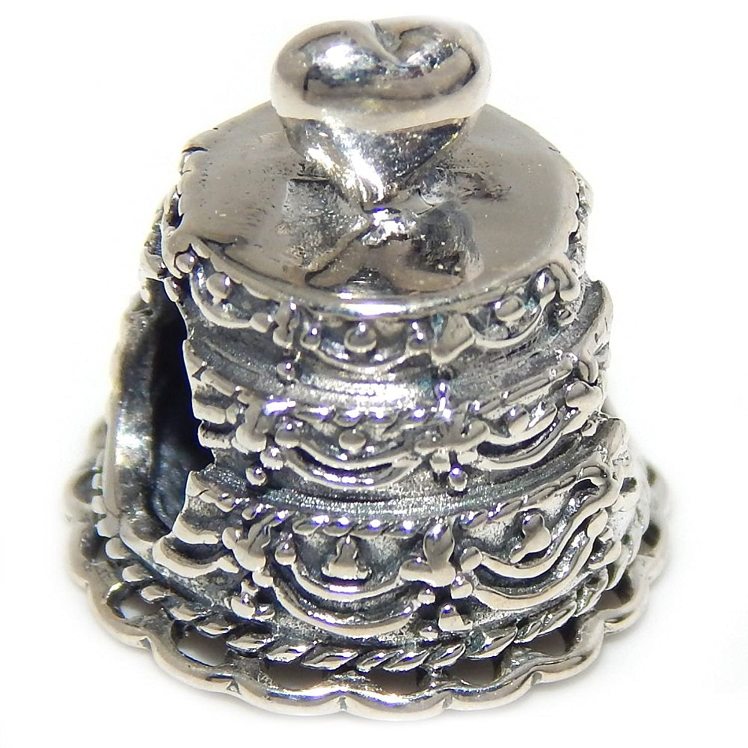 cheap Pro Jewelry 925 Solid Sterling Silver Wedding Cake Charm Bead supplies