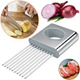 Hulless Stainless steel Onion Holder For Slicing,Vegetable Potato Cutter Slicer,Onion peeler odor eliminator,Stainless Steel Cutting Kitchen Gadget.