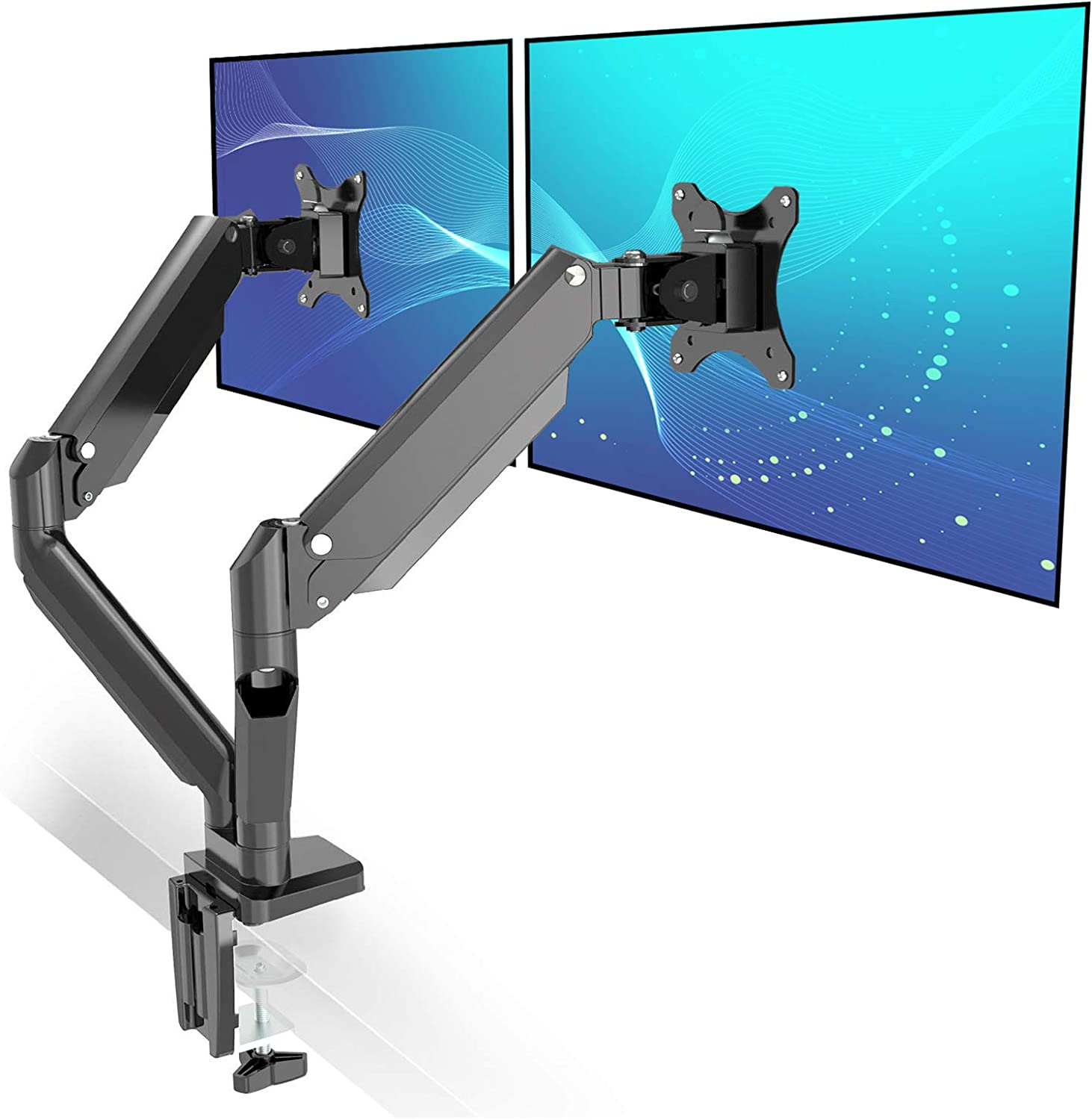Metiya Dual Monitor Mount Stand Full Motion Gas Spring Double Monitor Arms for Two Screens 17-32 Inch with 17.6lbs Loading for Each Monitor, Black