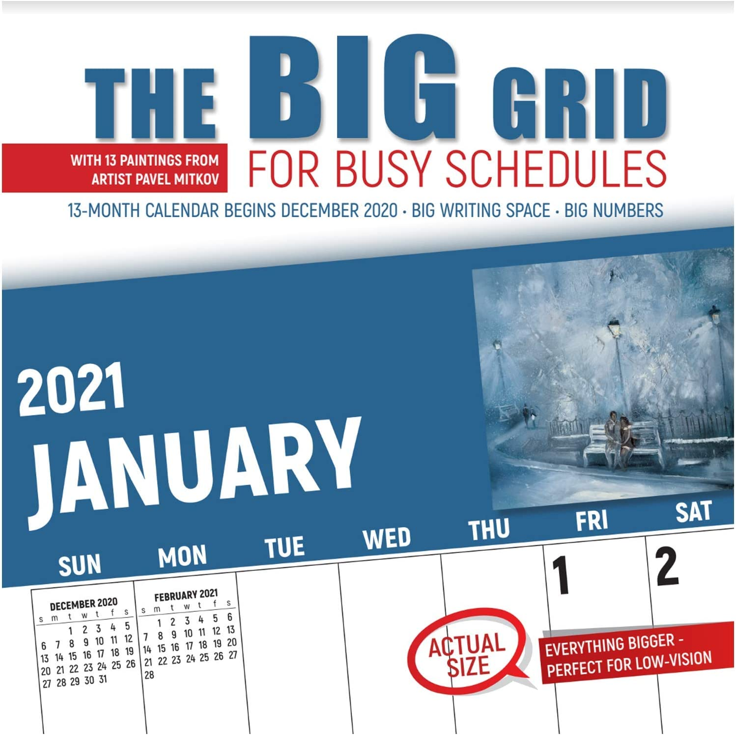 """Big Grid - Mitkov 2021 Calendar by Red Ember Press - 12"""" x 24"""" When Open - Thick & Sturdy Paper - Beautiful Art & Massive Writing Space"""