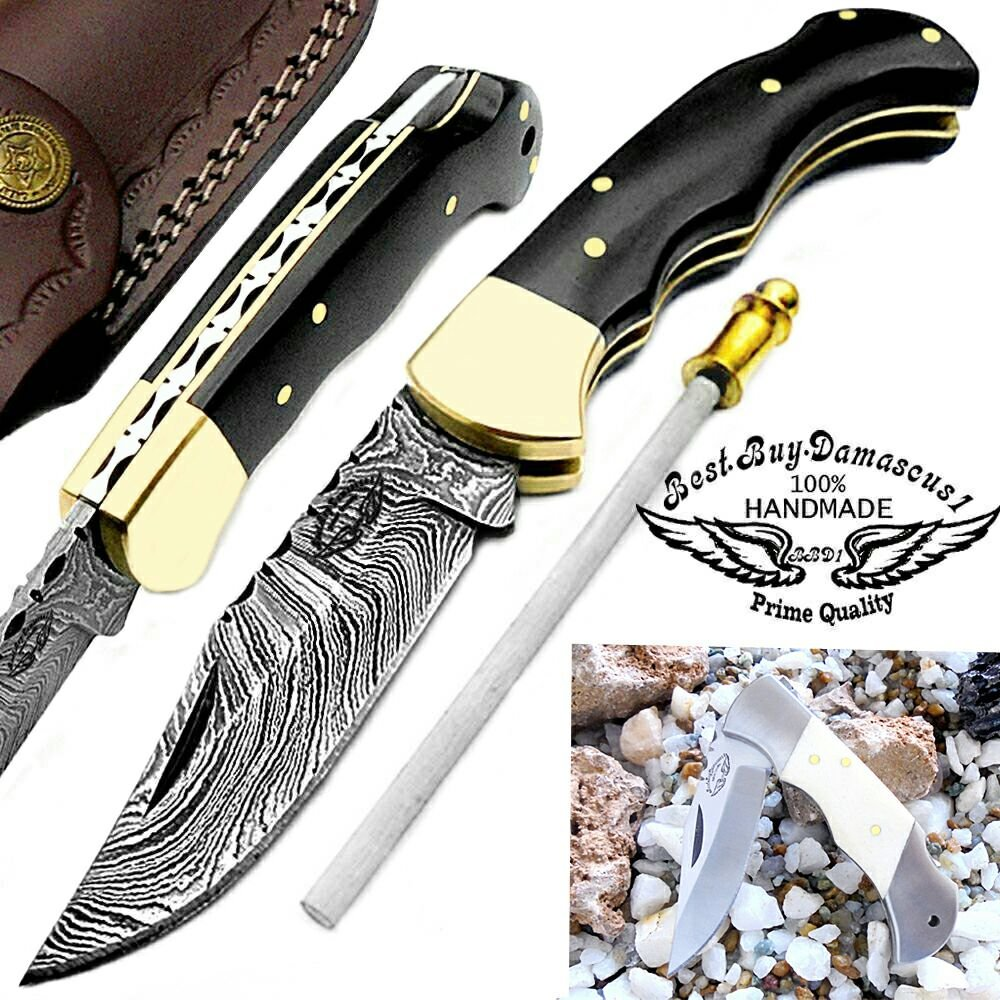 Buffalo Horn 6.5'' Custom Handmade Damascus Steel Brass Bolster Back Lock Folding Pocket Knife 100% Prime Quality Sharpening Rod Plus Camel Bone Stainless Steel Mini Pocket Knive
