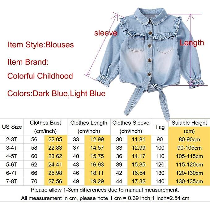 004b546ddaaf35 Amazon.com: Toddler Girls Crop Tie Tops Denim Shawl Jeans Shirt Children's  Casual Blouse Dark Blue Size 3-4T: Clothing