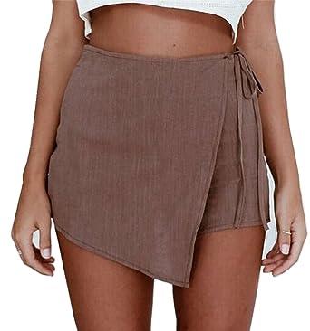 645f26779ad6 Aeneontrue Damen Shorts Bandage Unregelmäßig High Waist Hot Pants Hosenrock  Sexy Sommer Strand Kurzschluss Kurz Hosen