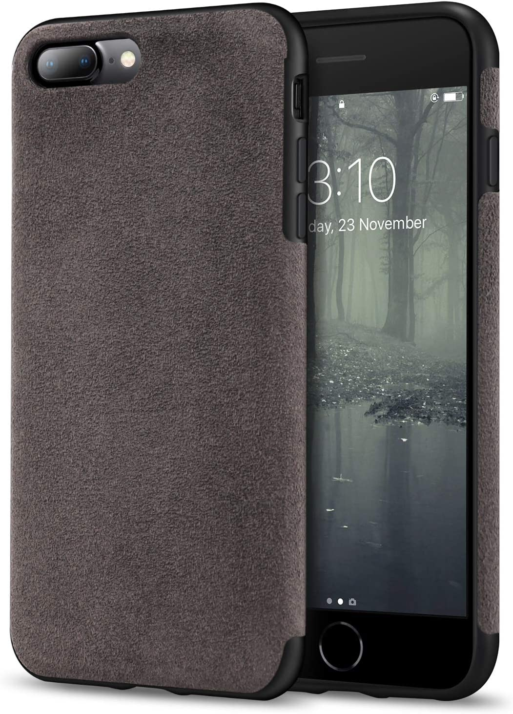 TENDLIN Compatible with iPhone 7 Plus Case/iPhone 8 Plus Case Premium Suede-Like Material Design Leather Hybrid Comfortable Grip Soft Cover Case Compatible with iPhone 7 Plus/iPhone 8 Plus (Brown)