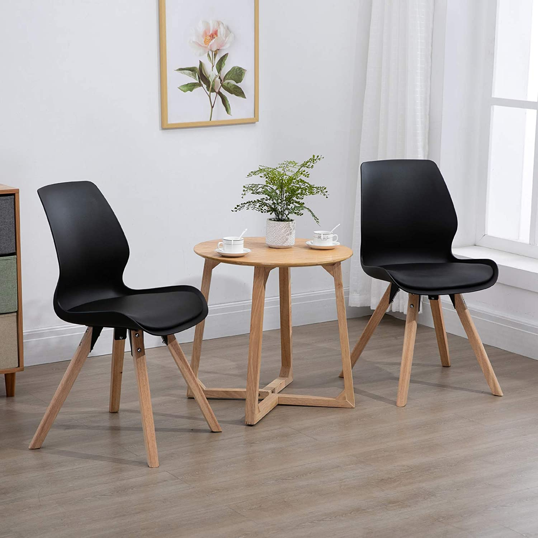 Homcom Lot de 2 chaises Salon Design scandinave Coussin Assise intégré dim. 48L x 57l x 87H cm polypropylène Bois hévéa Bleu Noir