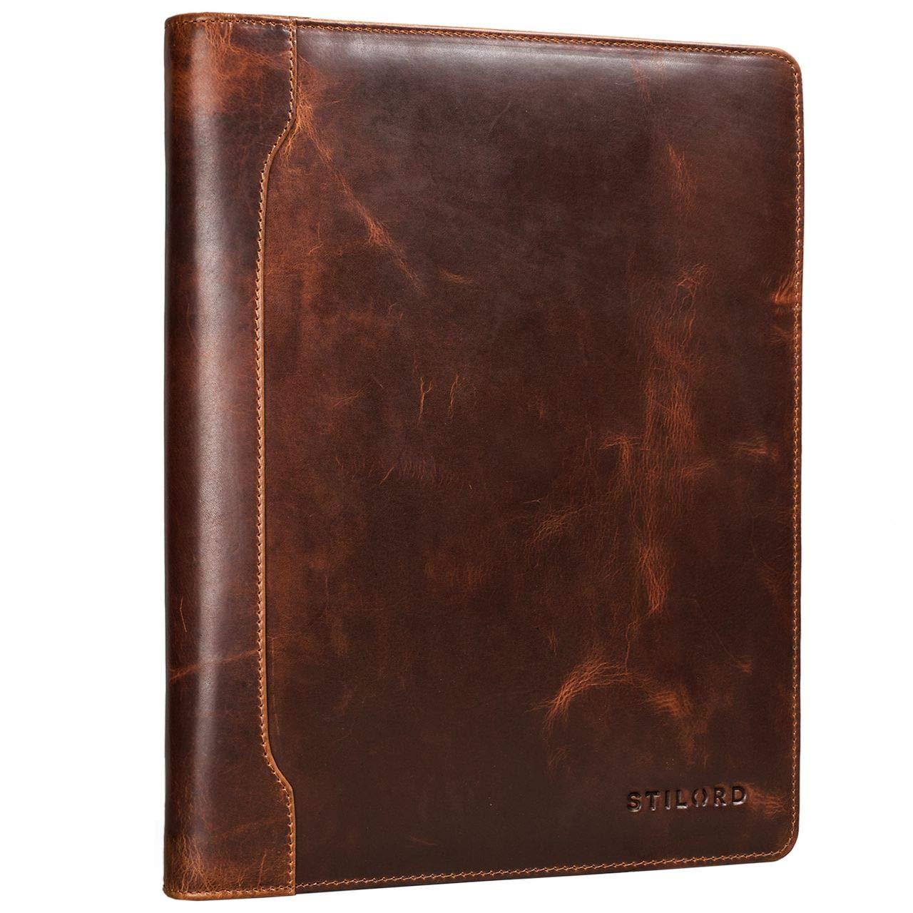 STILORD 'Arvid' Leder Konferenzmappe Vintage Dokumentenmappe A4 mit Ringmechanik 13,3 Zoll Schreibmappe Aktenmappe Ringbuch, Farbe:Kara - Cognac