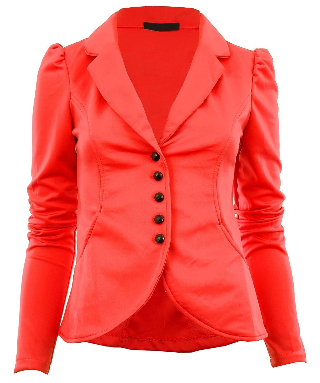 f6303d784 Gracious Girl Mardela New Womens 5 Button Front Ponte Bold Shoulder Ladies  Blazer Jacket Coat
