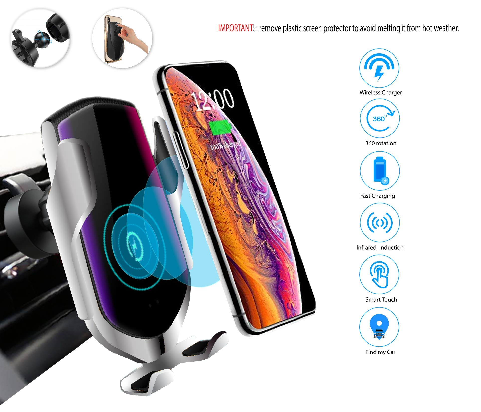 Nterprize Wireless Car Charger,IR Intelligent Automatic Clamping Car Charger Mount Air Vent,10W Wireless Charger Compatible for iPhone Xs/Max/XR/8/8 Plus/Galaxy S9/S9+/S8/S8+/Note9/S7(Silver) by Nterprize