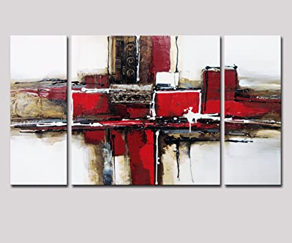 Noah Art 3 Panel Abstract Wall Art, Red And Black 100% Hand Painted Modern