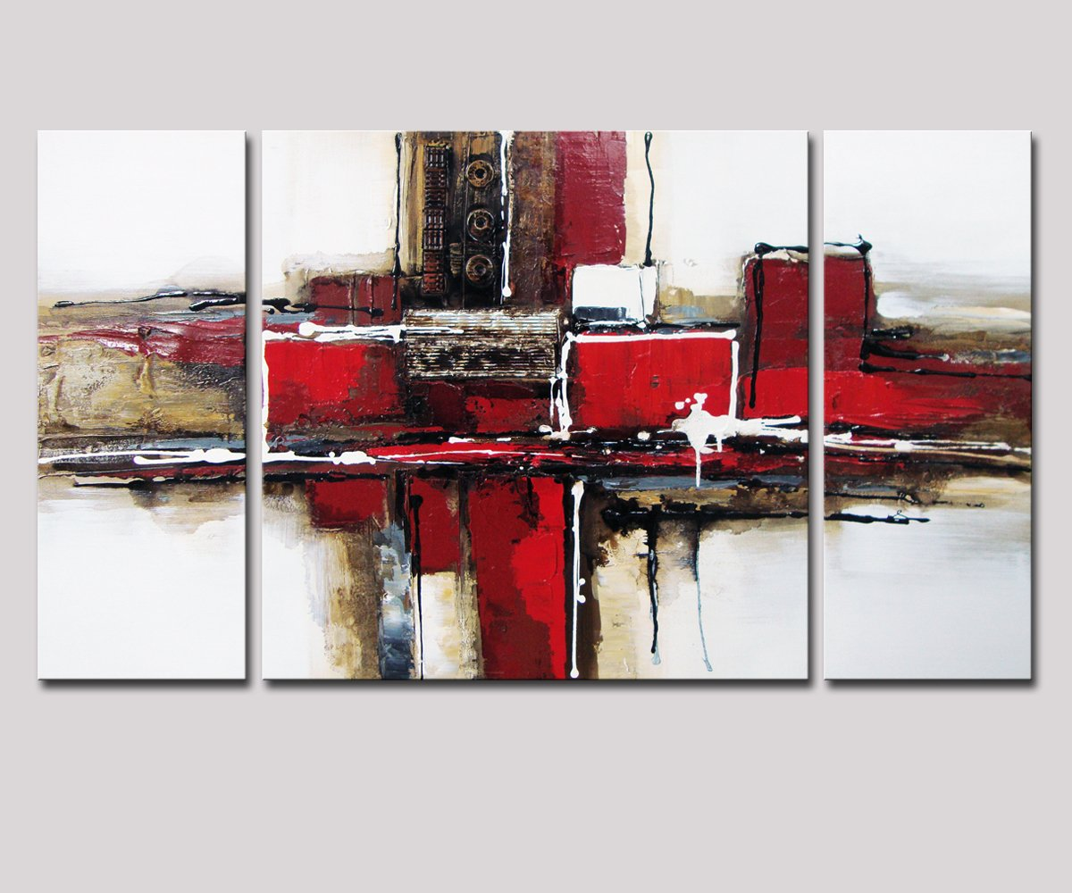 Noah Art 3 Panel Abstract Wall Art, Red and Black 100% Hand Painted Modern Abstract Oil Paintings on Canvas, Large Abstract Art for Living Room Wall Decor, 24 Inches Height x 48 Inches Width by Noah Art