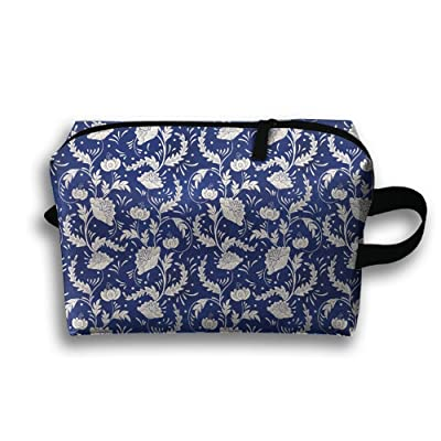 Pinkipory Portable Cosmetic Toiletry Bag Pouch Retro Flower Dark Blue Small Travel Makeup Bags Case Organizer