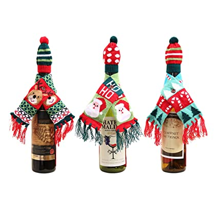 yc home christmas wine cover christmas bottle cover knitted wine scarfs cover dress with hat - Christmas Bottle Decorations