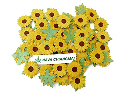 Amazon nava chiangmai 100 pcs sunflowers mulberry paper flowers nava chiangmai 100 pcs sunflowers mulberry paper flowers with brown centre 1 inch scrapbooking and creative mightylinksfo