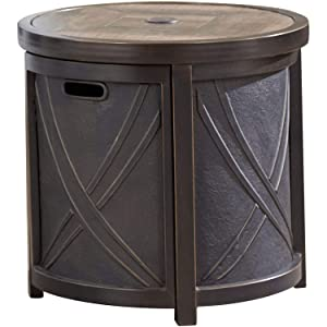 Hanover 25 in. Round Umbrella Side Table with Tile Tabletop, HANUMBTBL-RND