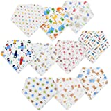 GHB 10 Pcs Baby Bibs Burp Cloths Absorbent Cotton Scarves with Snaps Best Gift for Newborn Baby and Toddler Durable Bandanas Sets