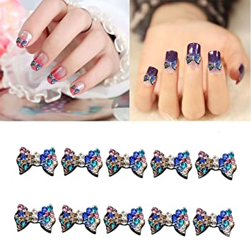 10pcs Glitter Bow 3d Alloy Nail Art Diy Beauty Studs Decorations Beauty & Health