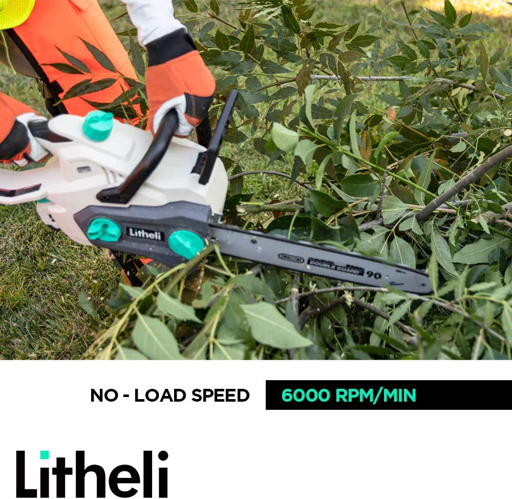 2.5AH Battery and Charger Litheli 40V Cordless Chainsaw 14 inches With Brushless Motor
