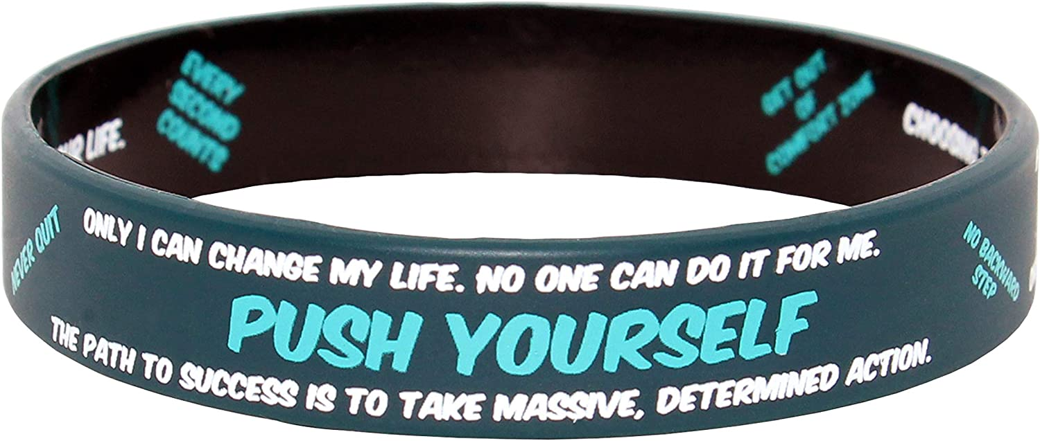 12 Pack Silicone Bracelets with 6 Different Cool Styles Great for Going Through Tough Times and Getting Things Done Inspirational Hidden Messages for Men and Woman Motivational Rubber Wristbands