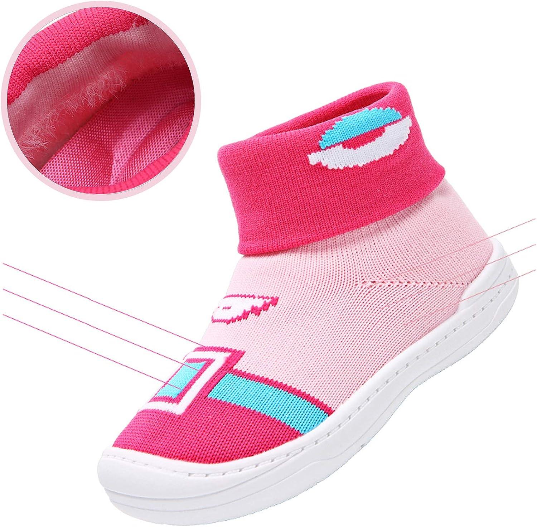 FJWYSANGU Toddler Baby Girls Boys First Walkers Sock Shoes Flat Walking Sneakers Soft Sole with Cute Pattern