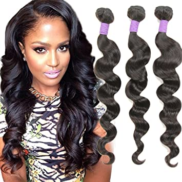 Amazon 9a grade loose wave brazilian hair 3 bundles virgin 9a grade loose wave brazilian hair 3 bundles virgin human hair extensions unprocessed natural black hair pmusecretfo Images