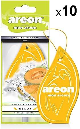 Areon Mon Auto Lufterfrischer Melone Duft Anhänger Hängend Aufhängen Spiegel Gelb Autoduft Pappe 2d Wohnung Melon Set Pack X 10 Auto