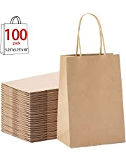 "GSSUSA 100pcs Brown Kraft Paper Bags 5.25"" x 3.75"" x 8"",Handled, Shopping, Gift, Merchandise, Carry, Retail,Party Bags (Brown)"