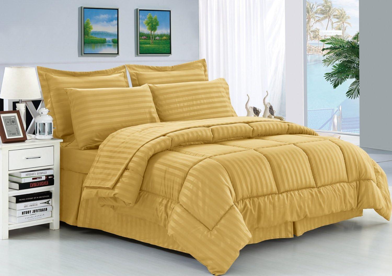 Elegant Comfort Wrinkle Resistant - Silky Soft Dobby Stripe Bed-in-a-Bag 8-Piece Comforter Set -HypoAllergenic - Full/Queen, Gold