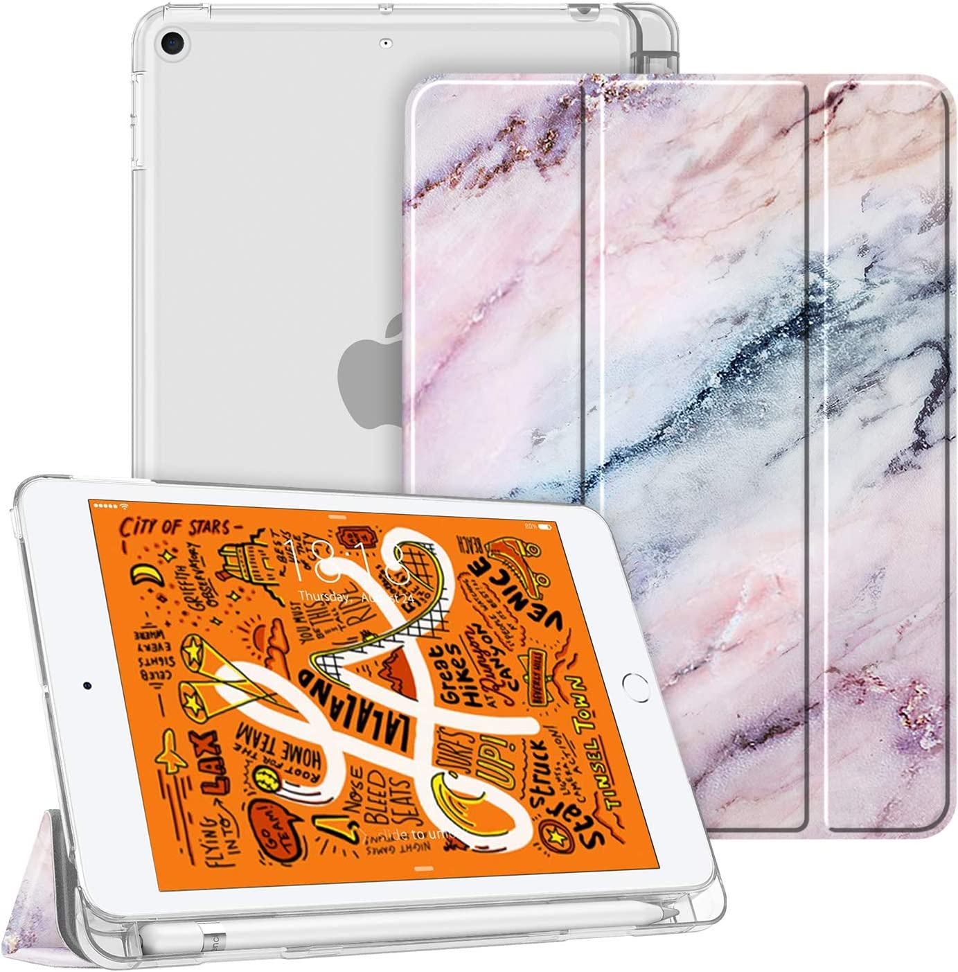 Fintie Case for iPad Mini 5 2019 - Lightweight Slim Shell Cover with Translucent Frosted Back Protector Supports Auto Wake/Sleep for iPad Mini 5th Generation 7.9 Inch, Marble Pink