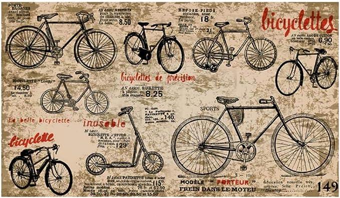 Gwrdnjpjc Papel Pintado Infantil, Bicicleta Vintage, Pintura De Pared Retro 3D Para Sala De Estar Sofá Tienda Fondo Pared Papel Pintado-300X210Cm: Amazon.es: Bricolaje y herramientas