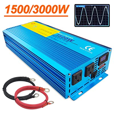 LVYUAN Pure Sine Wave Power Inverter 1500W / 3000W (Peak) Car Caravan RV Camping Boat DC 12V Inverter Soft Start 12V DC to AC 110V DC 12V Inverter Converter with LCD Display