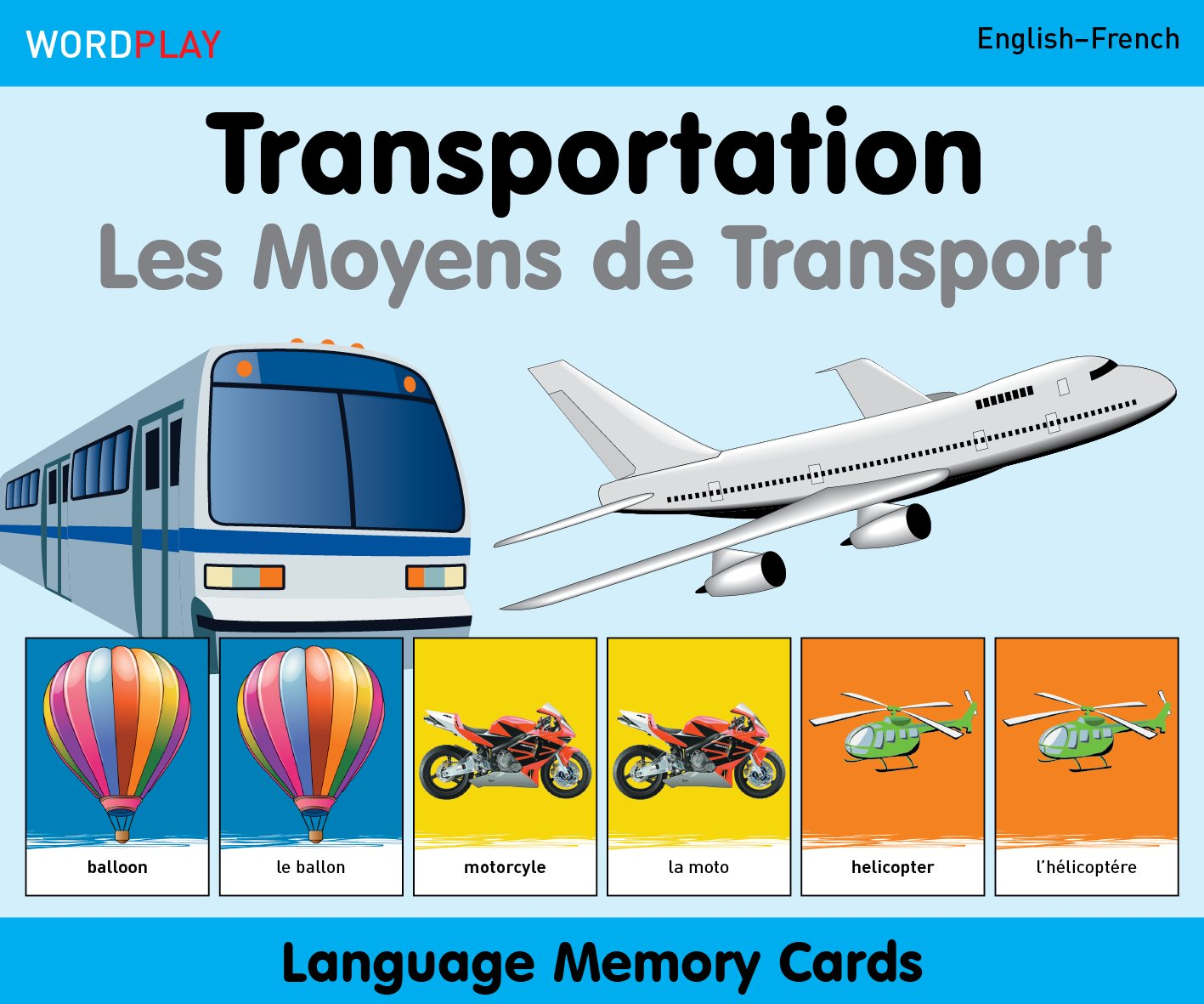 WordPlay Language Memory Cards–Transportation (English–French) (French and English Edition) by Milet Publishing