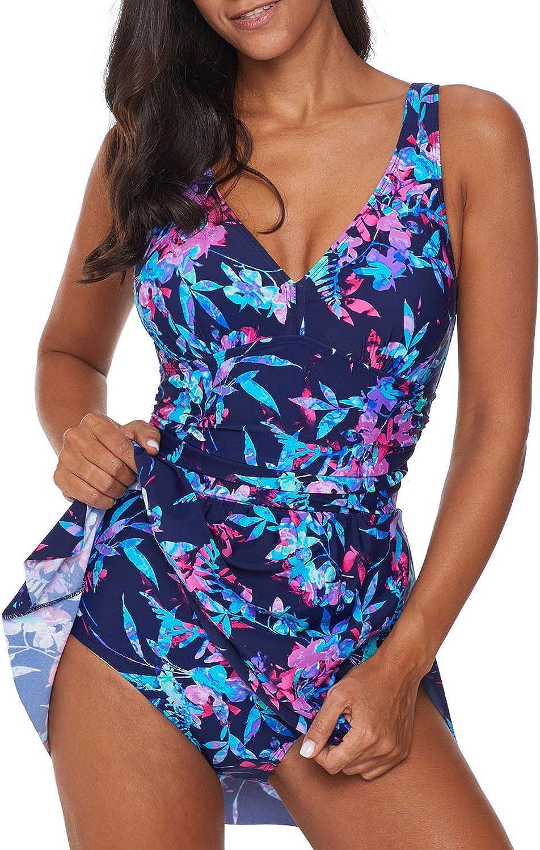 BLENCOT Womens V Neck Printed One Piece Swimdress Asymmetrical Hem Slit Swimsuits Bathing Suit