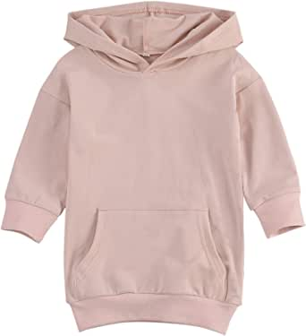 KMBANGI Toddler Baby Girl Cotton Dress Long Sleeve Hoodie Sweatshirt Dress Solid Pullover Shirt Dress Fall Winter Clothes(A,3-4 Years)
