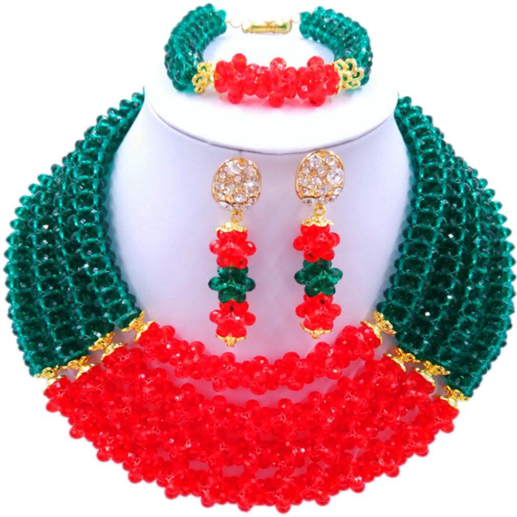 laanc 4-Layer 18-inch Nigerian Style African Beads Necklace Bracelet Earrings Wedding Festive Jewelry Set