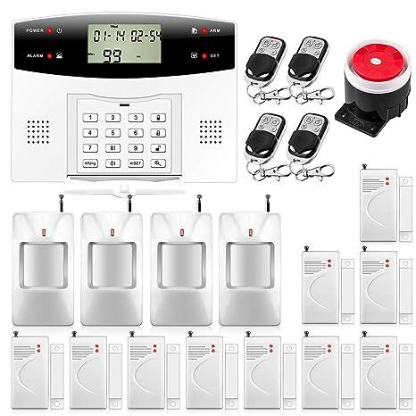 KERUI G2 PSTN/gsm Sistema de Alarma para el Hogar Control de Marcado Automático por SMS/Llamada, Monitoreo Remoto,Kit de Alarma Antirrobo Inalámbrica ...