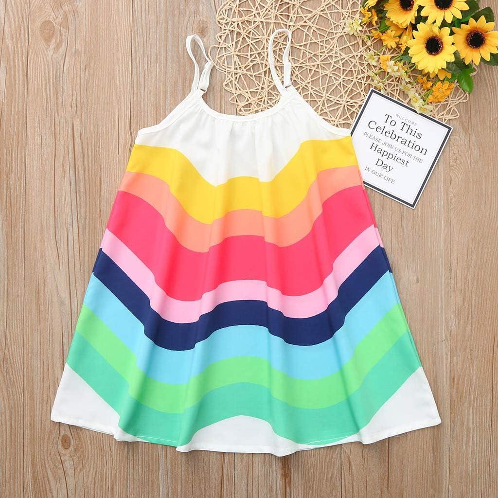 Kids Girls Dress,Girls Clothes,Summer Toddler Baby Girls Sleeveless Rainbow Print Dress Vest Dresses Clothes Party Dresses for 1-5 Years Old Girls Sundress