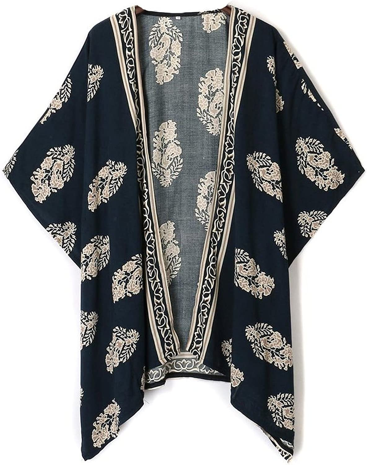 Choies Women's Leaf Print Open Front Batwing Half Sleeve Kimono Cover-ups