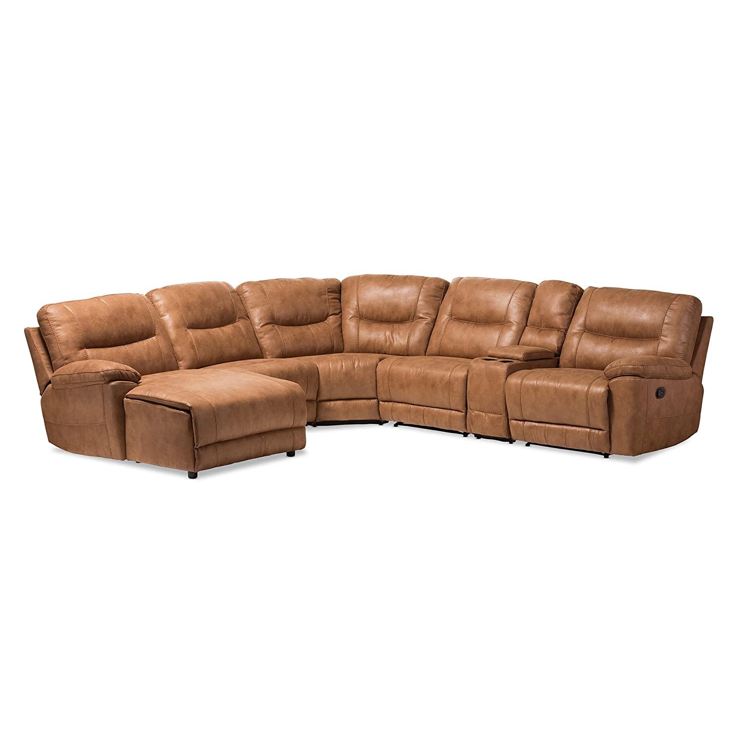 Awesome Baxton Studio 6 Piece Nadeen Palomino Suede Sectional With Recliners Corner Lounge Suite Light Brown Andrewgaddart Wooden Chair Designs For Living Room Andrewgaddartcom