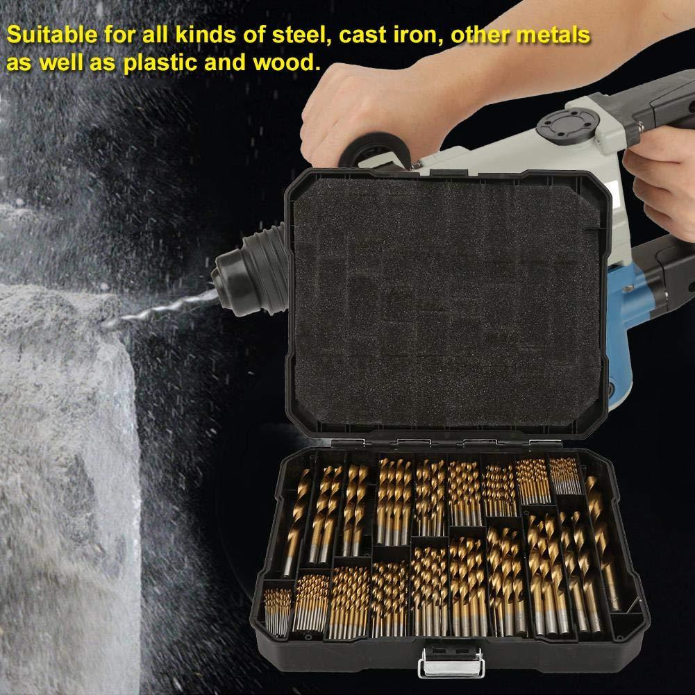 Twist Drill Bit Set 230PCS Titanium Coating High Speed Steel Drill Bit Kit with Plastic Storage Box Case Suit for Drilling in Steel Metal Fiberglass Wood Steel Wood Plastic Copper Aluminum Alloy