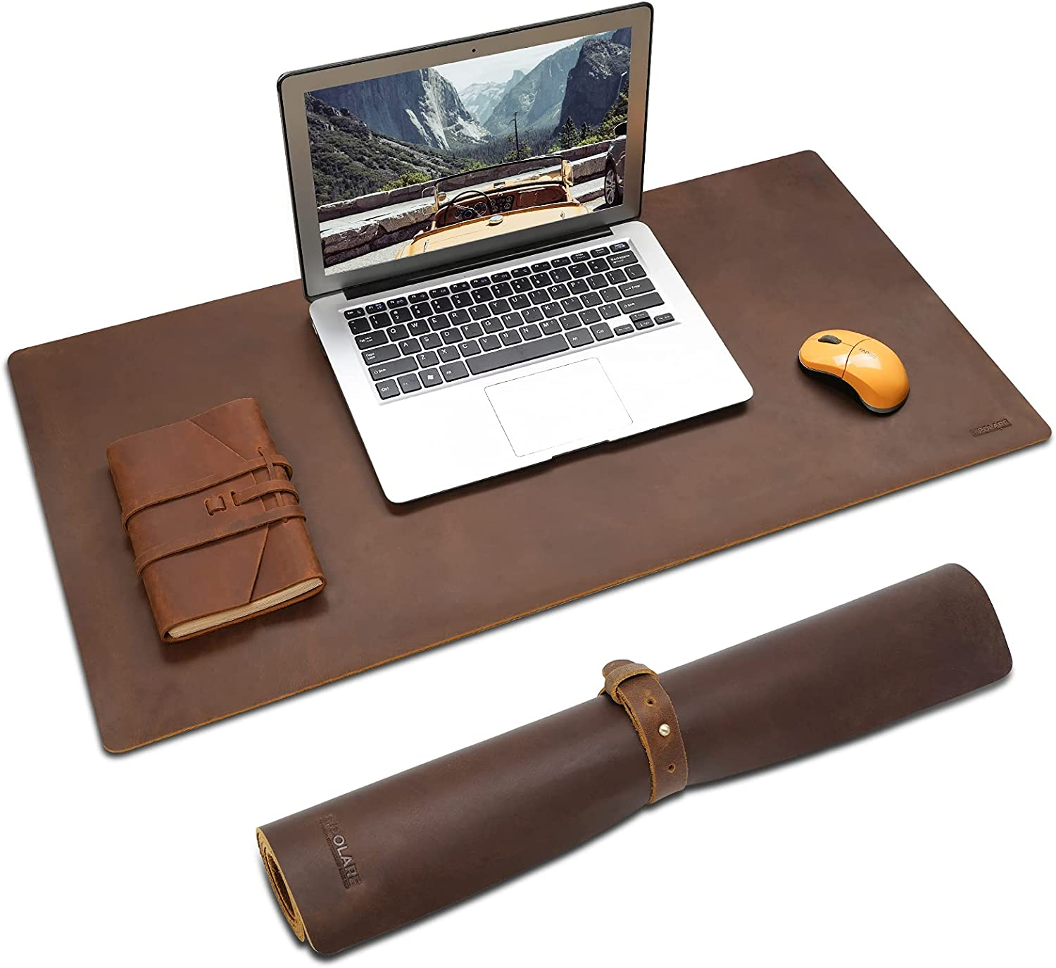 Polare Full Grain Leather Desk Pad Protector 31.5 x 15.7 inch Desktop Blotter Mats for Keyboard and Mouse Non-Slip Desk Writing Pad for Office and Home (Dark Brown)
